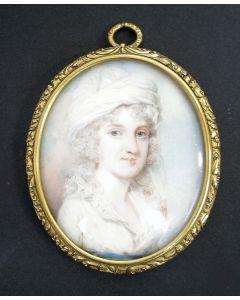 Portretminiatuur op ivoor van een jonge dame, met haarmemorie, 1797