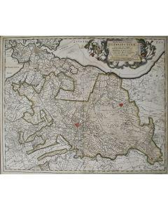 Handgekleurde kaart van de Provincie Utrecht, uitgave N. Visscher, eerste helft 18e eeuw