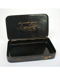 Japans lakwerk tabaksdoos met een inschrift m.b.t. J.C.J. van Speyk, ca. 1831