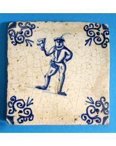 Figuurtegel, klepperman, 17e eeuw