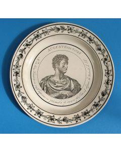 Faience bord met de voorstelling van Keizer Domitianus, Montereau, ca. 1820