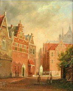 Hollandse School (gemonogrammeerd C.S.), Stadsgezicht Haarlem, 19e eeuw