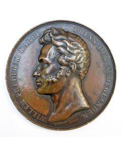 Erepenning / beloningspenning van Prins Frederik der Nederlanden, met een gravering op naam van de Belgische vrijmetselaar Feréol Fourcault, 1861