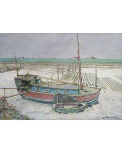 Jan van Ham, Woonschip op het strand (Texel), 1980