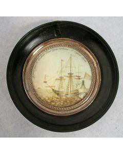 Memoriestukje met haarwerk van een Oostindiëvaarder, ca. 1820.