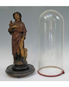Beeld van de heilige Rochus, onder glazen stolp