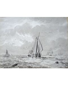 J.C. Haccou, schepen op zee, sepiatekening