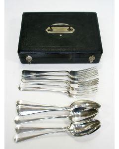 6 zilveren tafelcouverts, Haags lofje, Van Kempen 1896, in cassette