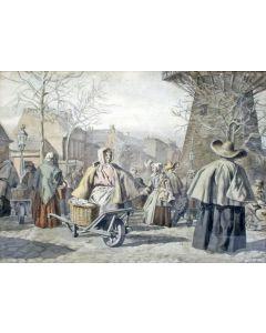Johannes Bergsi, De Scheveningse Vischmarkt te Rotterdam, aquarel, ca. 1860