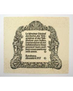 Nieuwjaarswens van de Directeur-Generaal van de Nederlands-Indische posterijen, Bandoeng 1937, houtsnede