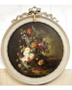 Rond schoorsteenstuk, bloemstilleven, in houten lijst, 19e eeuw