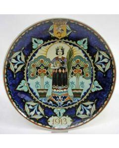 Rozenburg herdenkingsschotel, Juliana aardewerk, 1913