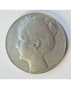 Zilveren penning, Koningin Wilhelmina, door Pier Pander, 1898