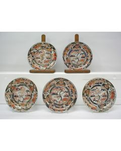 Vijf Japans Imari borden, 1e kwart 18e eeuw
