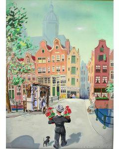 Jan Lavies, stadsgezicht Amsterdam, gouache