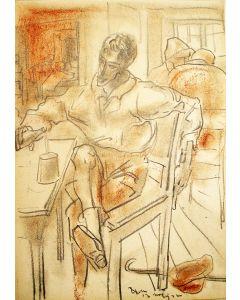 Willem van Konijnenburg, Wandelaar in café, krijttekening, 1922