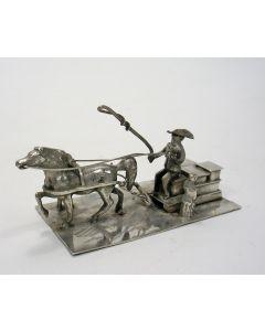 Zilveren miniatuur, voerman met slede, Hoorn, ca. 1900