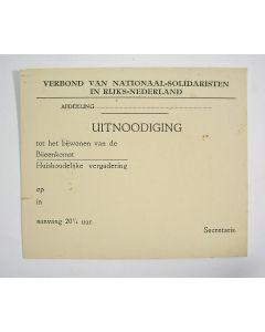 Uitnodigingskaart van het Verbond van Nationaal-Solidaristen in Rijks-Nederland [1931]