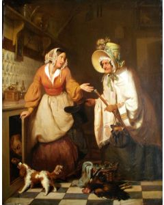 Charles Carton, 'Het betrapte keukenmeisje', olieverf op paneel, ca. 1850