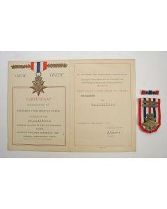 Ereteken van Orde en Vrede van een KNIL-sergeant, met bijbehorende oorkonde, 1949
