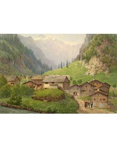 W.v.d.Velde, gezicht op Unterschächen, Zwitserland, aquarel