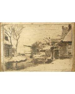 Cornelis Vreedenburgh, Boerderij in de sneeuw, etsje