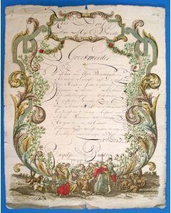 'Kerstbrief' met calligrafie, 1798