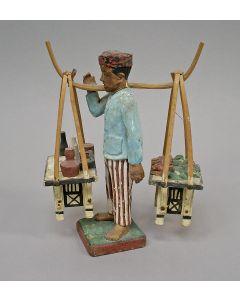 Beschilderd houten beeldje, straatverkoper, Java, koloniale periode