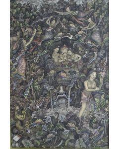 I Wayan Rajin, Batuan, Mythologische scène, gouache, ca. 1980
