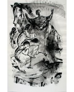 Ella Sliedrecht, Opwekking van Lazarus, gewassen inkttekening