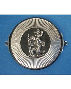 Zilveren dashboardschildje met Sint Christoffel