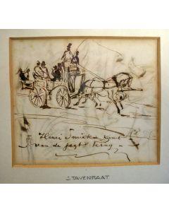 Johannes Tavenraat. 'Henri Smiek komt van de jagt terug', pentekening