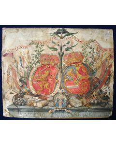'Veilig onder beide', Oranjegezinde allegorie op het bestuur van de Zeven Provinciën en de Stadhouder, aquarel door Adolf Hordijk, Vessem, 1775
