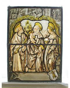 Glas-in-lood raam met religieuze voorstellingen, 19e eeuw