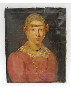 Portret van een vrouw in Zaanse dracht, ca. 1835