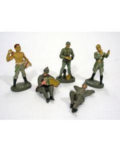 Elastolin figuren, Wehrmachtsoldaten tijdens rustactiviteiten, ca. 1935.