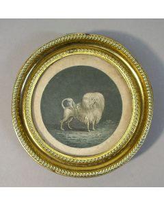 Miniatuurtje met hondje, 18e eeuw