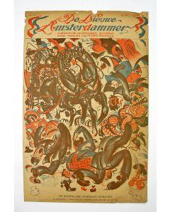 Tjerk Bottema, het koninklijk bezoek afgelast vanwege de Spaanse Griep, litho voor de Nieuwe Amsterdammer, 1918