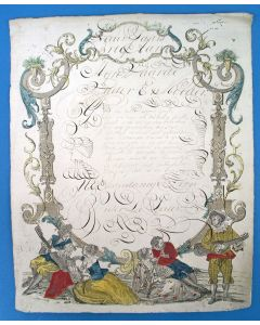 'Nieuwjaars Brief' met calligrafie, ca. 1800