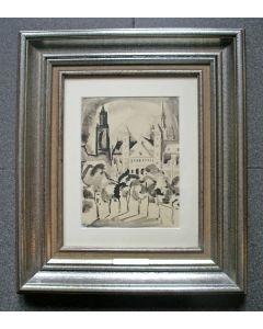Henri Jonas, 'Het Vrijthof, Maastricht', inkttekening, ca. 1930