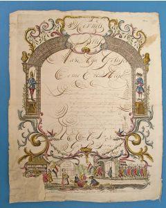 'Kermis Brief' met calligrafie, 1807