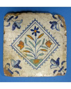 Polychrome bloemtegel, 1e helft 17e eeuw