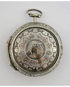 Spilleganghorloge in gedreven zilveren kast, in Engeland vervaardigd voor de Nederlandse markt, John Grantham, Londen, 1764