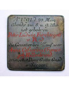 Gegraveerde zilveren geboorteplaquette, 1792