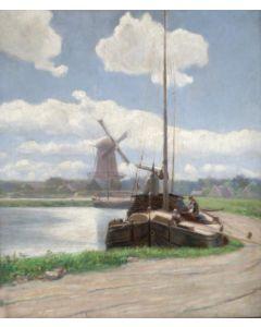 Moritz van Eijken, Hollands landschap met platbodem