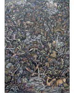 I Made Tubuh, Batuan, 'Oerwoud met dieren', gouache, 1977