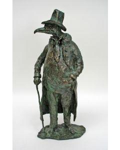 Bronzen sculptuur, 'De pestdokter'.