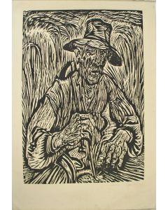Johan Dijkstra, 'De zichter', houtsnede