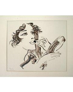 Willem van Konijnenburg, Vrouw die haar lippen stift. Sepiatekening, 1929