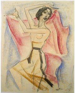 Willem van Konijnenburg, Dansende naakte vrouw, pasteltekening